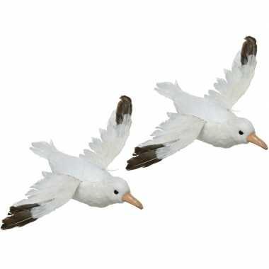 2x dierenbeelden meeuwen vogels 34 cm hangdecoraties