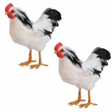 2x stuks dierenbeeld witte kip vogel 30 cm staande decoratie
