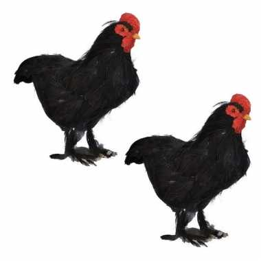 2x stuks dierenbeeld zwarte kip vogel 30 cm staande decoratie