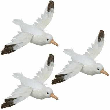3x dierenbeelden meeuwen vogels 34 cm hangdecoraties