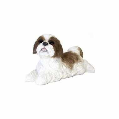 Beeldje liggende bruine boomer hond 19 cm
