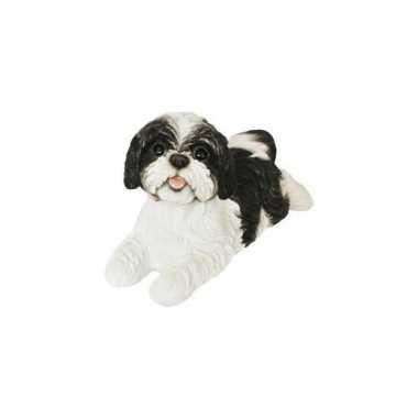 Beeldje liggende zwarte boomer hond 19 cm