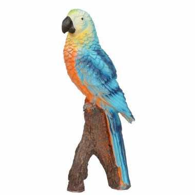 Dierenbeeld blauwe ara papegaai vogel 20 cm woondecoratie