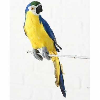 Dierenbeeld blauwe ara papegaai vogel 62 cm hangdecoratie