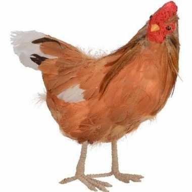 Dierenbeeld bruine kip vogel 30 cm staande decoratie
