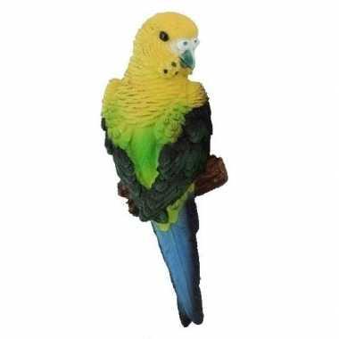 Dierenbeeld grasparkiet geel groen vogel 16 cm