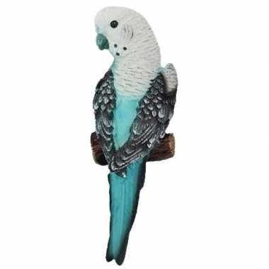 Dierenbeeld grasparkiet turquoise vogel 16 cm
