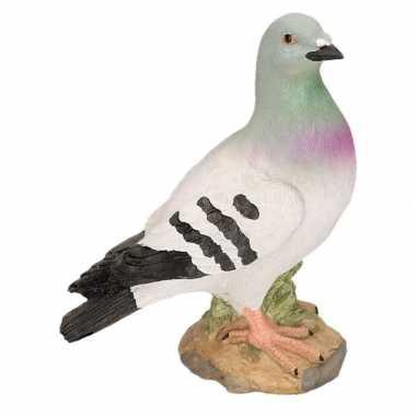 Dierenbeeld grijze duif polystone rechts 24 cm