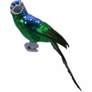 Dierenbeeld groene papegaai vogel 30 cm decoratie