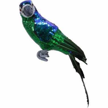 Dierenbeeld groene papegaai vogel 40 cm decoratie