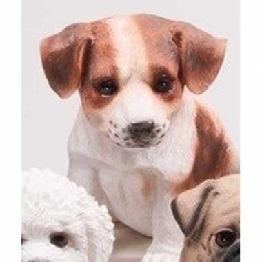 Dierenbeeld jack russel hond bruin/wit 15 cm