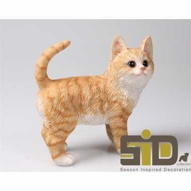 Dierenbeeld kat/poes rood staand 20 cm