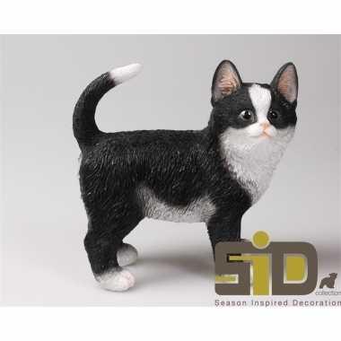 Dierenbeeld kat poes zwart wit staand 20 cm