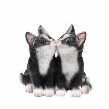 Dierenbeeld katjes/poesjes zwart 20 cm