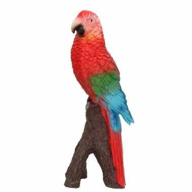 Dierenbeeld rode ara papegaai vogel 20 cm woondecoratie
