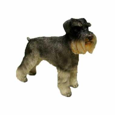 Dierenbeeld schnauzer hond 15 cm