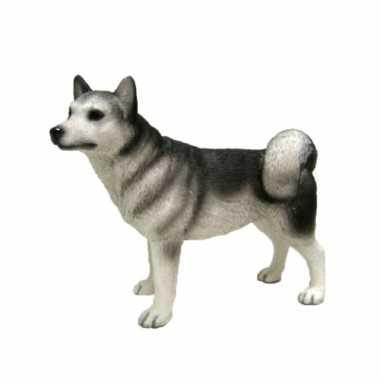 Dierenbeeld siberische husky hond 15 cm