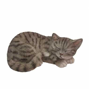 Dierenbeeld slapende kat/poes grijs/wit 28 cm