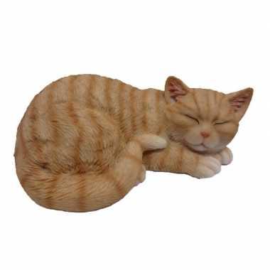 Dierenbeeld slapende kat/poes rood/wit 28 cm