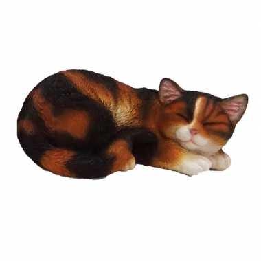 Dierenbeeld slapende kat/poes zwart/wit 28 cm