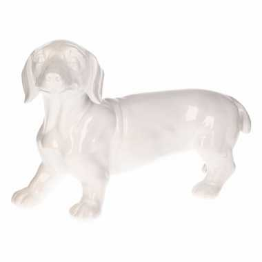 Dierenbeeld teckel hond wit 29 cm
