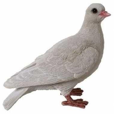 Dierenbeeld witte duif 19 cm