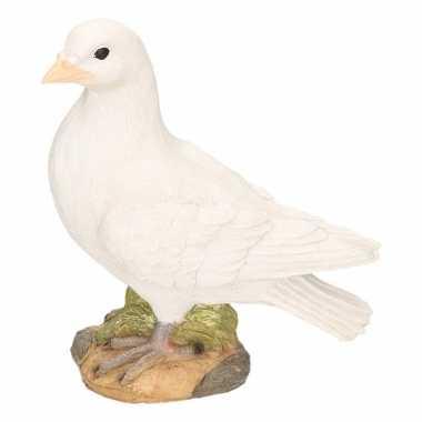 Dierenbeeld witte duif stenen beeld links 24 cm