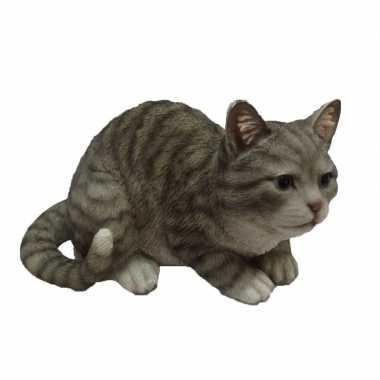 Fonkelnieuw Dierenbeeld zittende kat/poes grijs/wit 32 cm | Dierenbeelden.eu CL-83