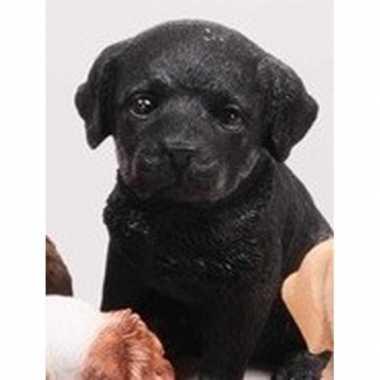Dierenbeeld zwarte labrador hond 15 cm