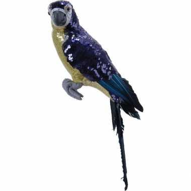 Dierenbeelden paarse papegaai vogel 40 cm beeld decoratie