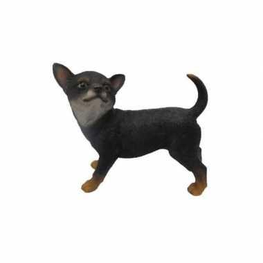 Dierenbeeldje chihuahua zwart staand 22 cm