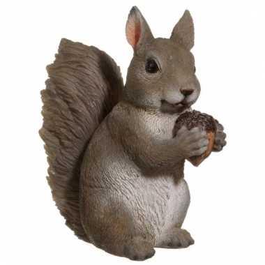 Dierenbeeldje grijze eekhoorn 15 cm