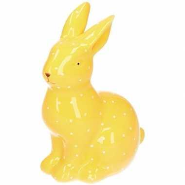 Geel haas/konijn dierenbeeldje 15 cm