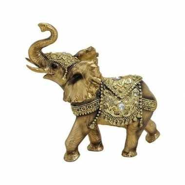 Goud olifant beeldje 17 cm
