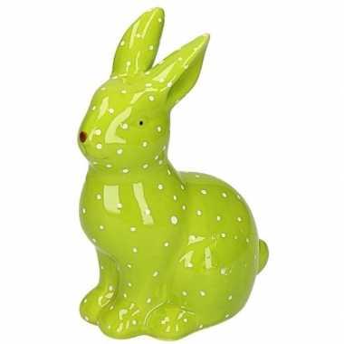 Groen haas/konijn dierenbeeldje 15 cm