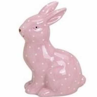 Roze haas/konijn dierenbeeldje 10 cm