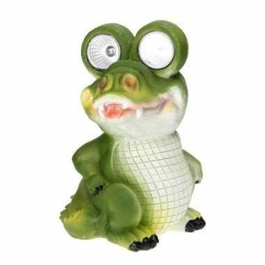 Solar tuinbeeldje krokodil 20 cm