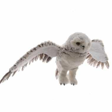 Vliegende uil hangdecoratie dierenbeeldje grijs 68 cm