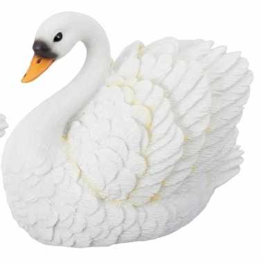 Zwemmende witte zwaan beeldje 13 cm